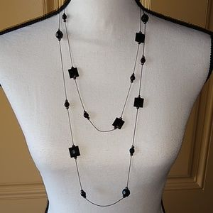 Long gunmetal & black bead necklace